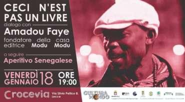 Cultura Mondo, venerdì 18 gennaio al Crocevia di Lecce, incontro con Amadou Faye